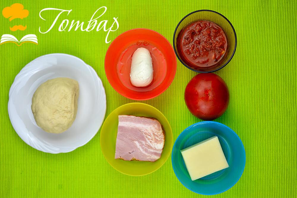 Готвар, рецепта - Пица с бекон и сирена, продукти