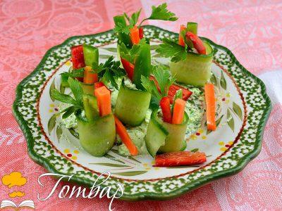 Рулца от краставица с пълнеж от сирене и зеленчуци