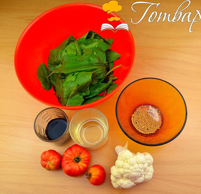 продукти Готвар, рецепта, рецепти, готвене, продукти - Салата със спанак, карфиол и дресинг със синапово семе