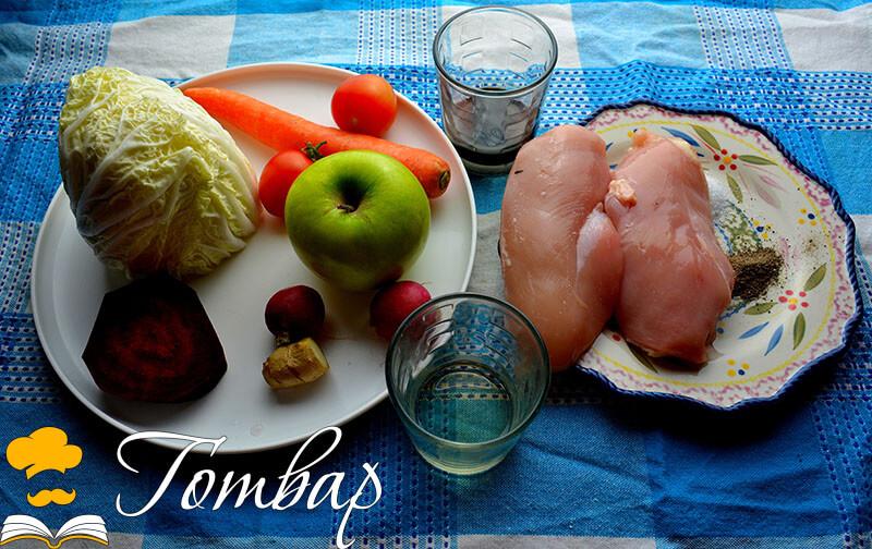 Свежа зимна салата с пилешко месо рецепта готвар