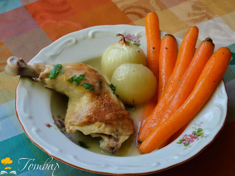 Пилешки бутчета с глазирани зеленчуци